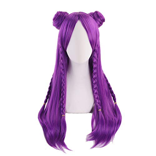 Ani·Lnc wig Game Character Cosplay Wigs 70cm Long Purple Heat Resistant Synthetic Hair Perucas Cosplay Wig]()