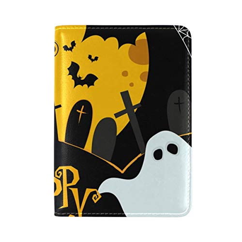 Halloween Pattern Moonlight Lovely Pumpkin Spooky Bat One Pocket Leather Passport Holder Cover Case Protector for Men Women Travel