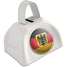 Germany with Crest Flag Soccer Ball Futbol Football White Cowbell Cow Bell