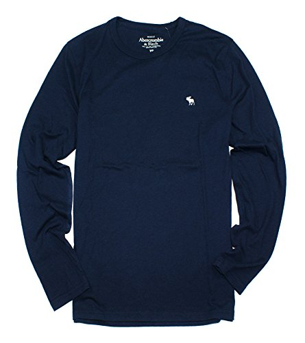 Abercrombie & Fitch Men's Long-Sleeve Easy Fit T-Shirt AF06 (X-Small, Navy)