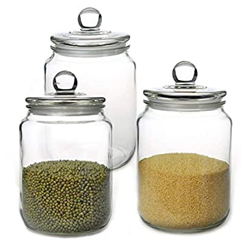 Glass Jars,Candy Jar With Lid For Household,Food Grade Clear Jars   1/2 Gallon (3) by Maredash