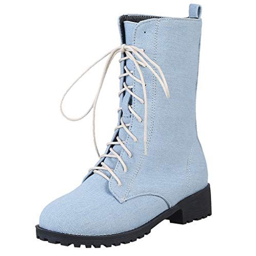 Price comparison product image Cenglings Women Denim Knee High Boots,  Round Toe Square Heel Flat Shoes Lace-Up Snow Boots Slim Shoes Mid-Calf Knight Boots