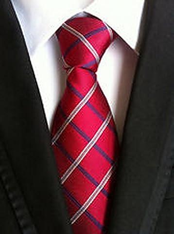 Jacob AleX #47190 Costume Geometric Red Blue White JACQUARD WOVEN Necktie