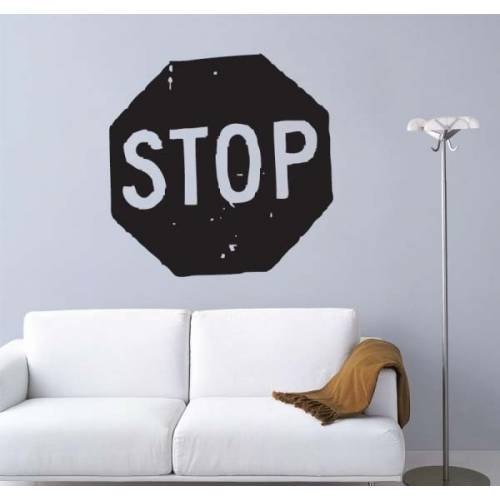Stop Sign Street Logo Sticker Decal Wall Art Nursery Room Kids Bedroom Children's Room Wall Art Decal Stickers Tr995