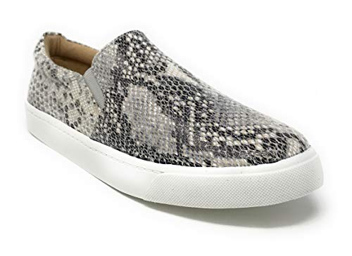 SODA Shoes Women's Tracer Slip On White Sole Shoes (6.5 M US, Beige/Python) ()