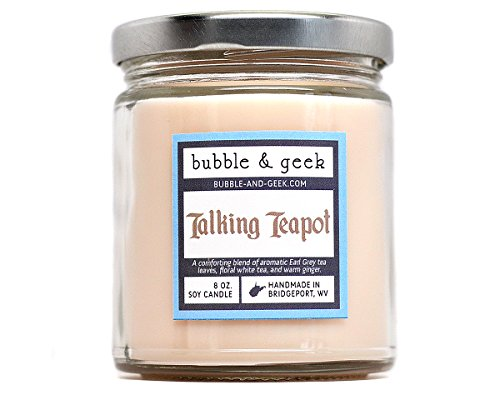 Talking Teapot Scented Soy Candle – earl grey tea, white tea, ginger