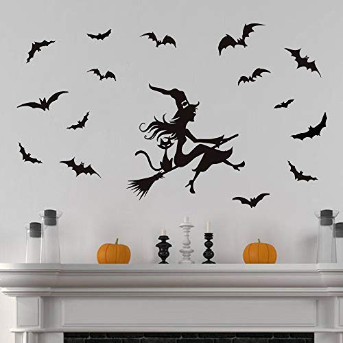 ufengke Hollween Witch Bat Wall Stickers Black Cat DIY Window Wall Decals for Party Decoration