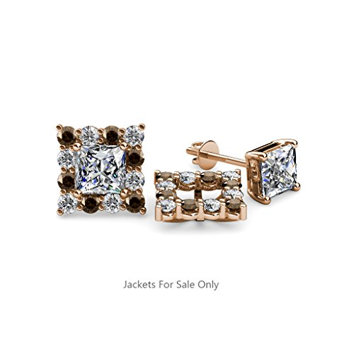 Smoky Quartz and Diamond Halo Jacket for Princess Cut Stud Earrings 0.72 ct tw in 14K Rose Gold