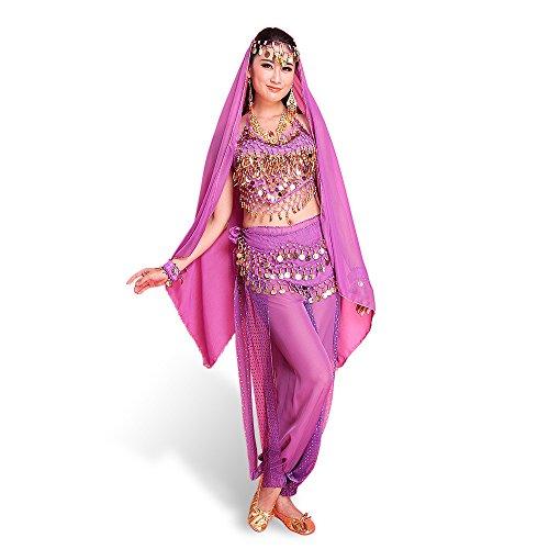 pendante court Pad ceinture Lady Mauve mousseline et des foulard danse de de tete Avec Bells Bandage ventre en Le soie grand Chest Haut Monnaies indienne SymbolLife Pantalon p61axT