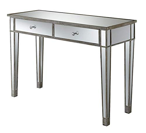 Convenience Concepts Gold Coast Mirrored Desk, Weathered White / Mirror (White Mirrored Furniture)
