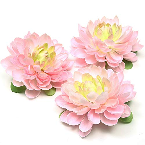 - Romanly 1Pcs New Silk Dahlia Artificial Flower Head for Wedding Party Decoration DIY Flower Wall Headdress Brooch Pink