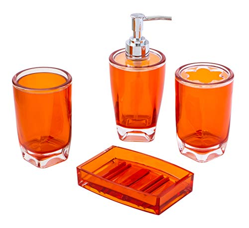 JustNile Essential 4-Piece Bathroom Set in Durable Plastic for Shower and Bathroom, Includes Soap Dish, Toothbrush Holder, Round Tumbler and Dispenser/Pump - Opaque Orange - RENOVATE YOUR BATHROOM: Our beautiful 4-piece bathroom collection gives your bathroom an all-new look that's hard to miss; the beautiful modern design is built with durable plastic to last long and look good. A COMPLETE SET: This essential set contains all you need; 1 soap dish, 1 liquid soap dispenser with pump, 1 flower shaped toothbrush holder and 1 tumbler; makes a great housewarming gift. A GLASSY LOOK: Made of durable acrylic, this bathroom collection looks just like glass, but is much tougher; it takes falls and bumps without breaking and is easy to clean; just rinse it under warm water. - bathroom-accessory-sets, bathroom-accessories, bathroom - 41UKj6FIqcL -