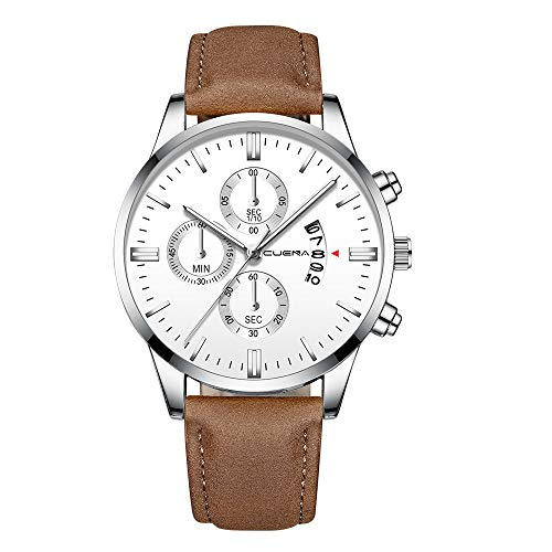 Pengy Men's Analog Quartz Watches Casual Watches for Men Waterproof Leather Band Wrist Watch