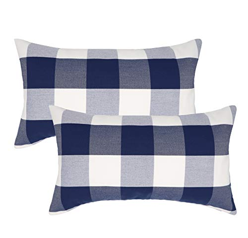 Selcet 12 X 20 Inches Farmhouse Decorative Throw Pillow Covers Buffalo Check Plaid Cushion Cases Set of 2