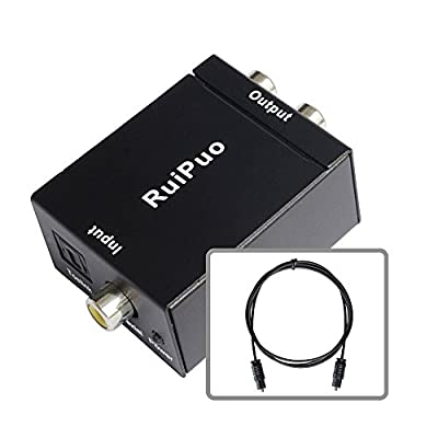 RuiPuo Digital to Analog Audio Converter with Fider cable and power supply, 32kHz, 44.1kHz, 48kHz, 96kHz and 192kHz/24bit optical to rca Audio Converter, Set to PCM/LPCM output