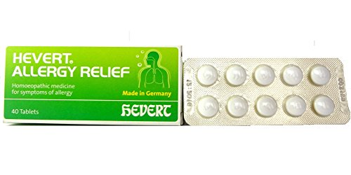 Hevert Germany Allergy Relief from Sneezing, Runny nose, Watery & itchy Eyes. Contains Apis mellifica 4X, Kali bichromicum 6X, Verbascum Den 2x. Pack of 40 Tablets (Best Relief From Allergic Rhinitis)