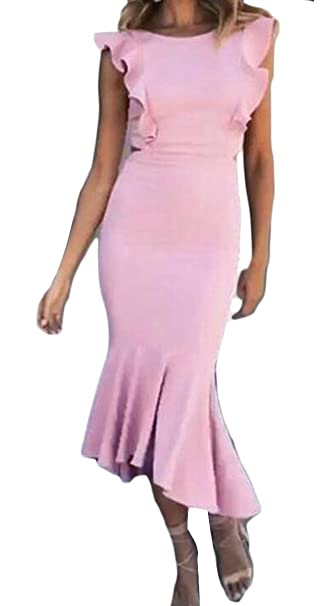 41c8f6407102 OTW Women Hollow Out Ruffle Bodycon Solid Color Stylish Cocktail Party Midi  Dress at Amazon Women's Clothing store: