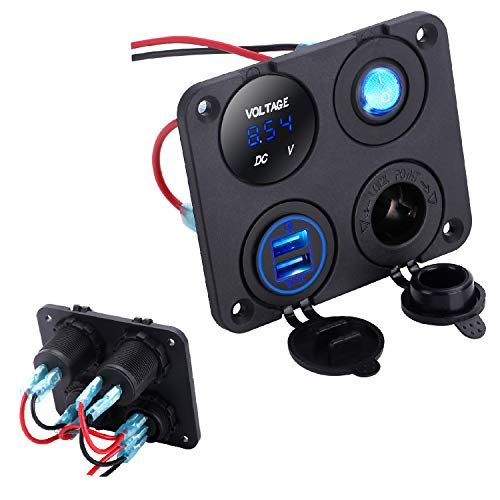(LiDiVi 12V Dual USB Quick Charge 3.0 Charger Socket + 12V Power Outlet + ON-Off Toggle Switch + LED Voltmeter, 4 in 1 Multifunction Panel for Car Boat Marine Scooter RV Vehicles Truck)