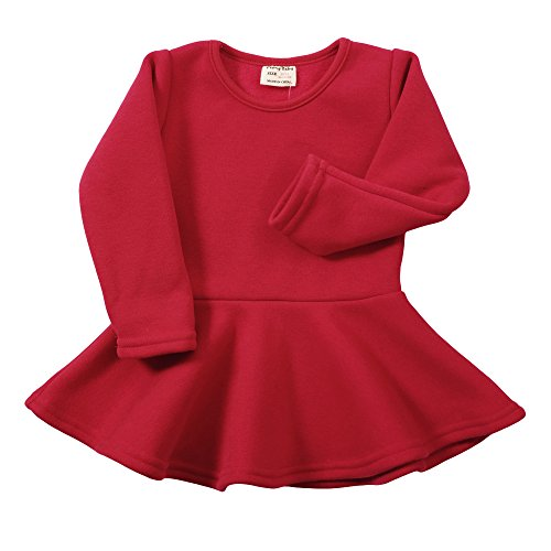 (Infant Toddler Baby Girls Dress Pink Ruffle Long Sleeves Cotton (2-3Year(3T), Rednap))