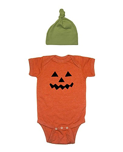Baby Halloween Costume Pumpkin Bodysuit and Hat 12-18 Heather Orange -