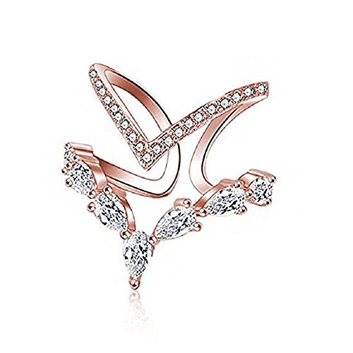 Pokich 18K Rose Gold Cubic Zirconia Ring CZ V Ring Open Adjustable Heart Princess Ring for Women - 18k Gold Electroplated Mens Ring