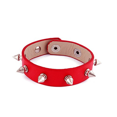 Leather Bracelet Punk Spike Rivet Cuff Bangle Metal Studded Red Wristband (Leather Red Studded)