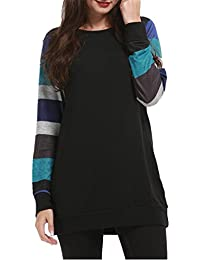 HARHAY Women's Cotton Knitted Long Sleeve Lightweight Tunic Sweatshirt Tops Black & Blue S