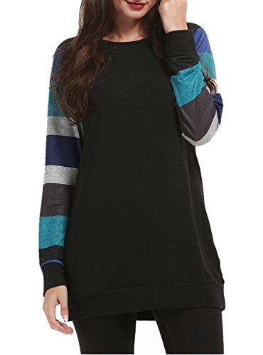 (HARHAY Women's Cotton Knitted Long Sleeve Lightweight Tunic Sweatshirt Tops Black & Blue L/US8-10)