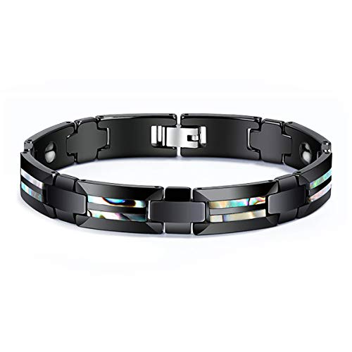 TIANYI Black Bracelet Natural Abalone Shell Inlay Ceramic Energy Magnetic Bracelets for Men Boys Healthy Jewelry