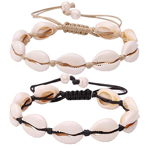 (ANGELFLY Anklet Seashell Cowrie Shell Hawaiian Tropical Beach Adjustable Anklets Ankle Bracelets for Women Teen Girls,Gifts for Mother's Day -2pc (G-Seashell Anklets))