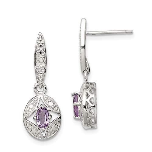 925 Sterling Silver Purple Amethyst Diamond Post Stud Drop Dangle Chandelier Earrings Fine Jewelry For Women Gift Set