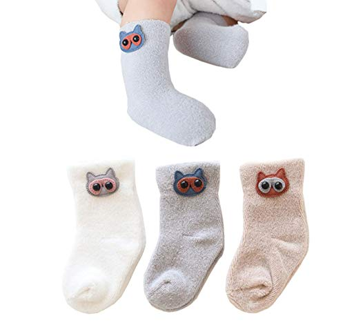 (Unisex Baby Boys Girls Winter Warm Cotton Socks Infant Toddlers Cute Thicken Socks Stocking 4-Pack Owl M)