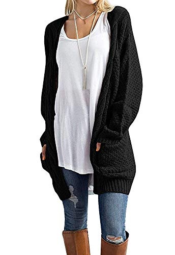 Misassy Womens Boho Open Front Cardigans Loose Cable Chunky Knit Sweater Pointelle Pullover with Pockets (XX-Large, Black)