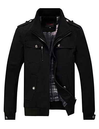 Lentta Men's Casual Slim Stand Collar Zipper Cotton Autumn Lightweight Jacket (Large, Black) Collar Slim Zipper Closure