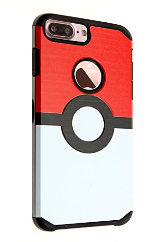 iPhone 8 Plus Case, IMAGITOUCH 2-Piece Style Armor Case with Flexible Shock Absorption Case and Pokemon Go Game Cover for iPhone 8 Plus- Vintage Pokemon Go Poke Ball Hybrid