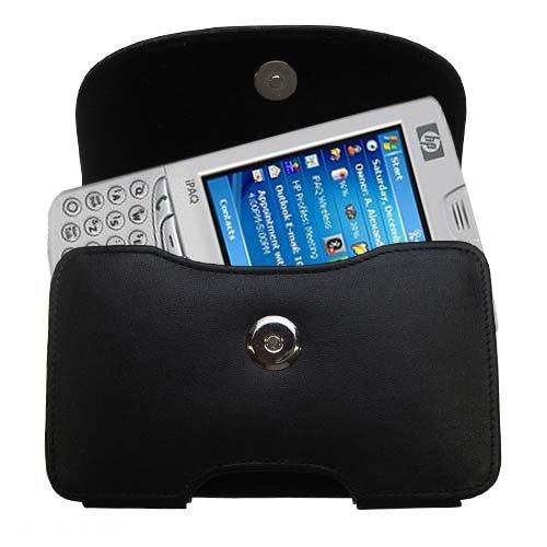 Designer Gomadic Black Leather HP iPAQ hw6710 hw6715 Belt Carrying Case - Includes Optional Belt Loop and Removable Clip