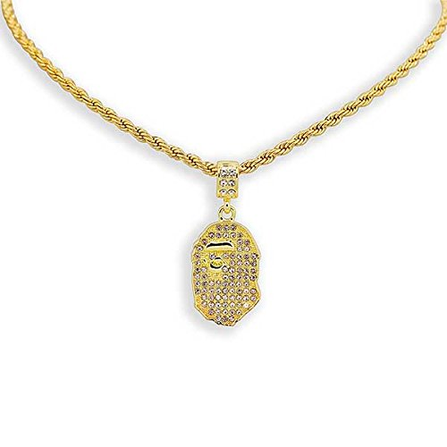(Yellow Gold-Tone Iced Out Hip Hop Bling Bape Ape Pendant with 24