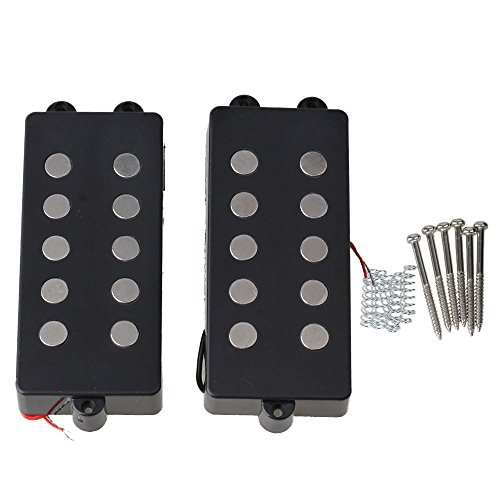 BQLZR Black Ceramic Magnet 5 String M Bass Humbucker Double Coil Pickup for for Bass Pack of 2
