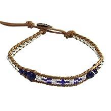 Bohemian Seed Beaded Leather Charm Bracelet with Semi-precious Stones