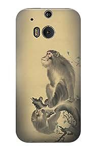 E2698 Mori Sosen Monkeys Tree Funda Carcasa Case para HTC ONE M8