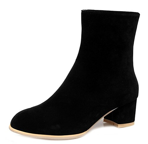 Daily Toe Faux Zipper Booties Round Suede Women's Black Side Aisun AnRwBU5xB