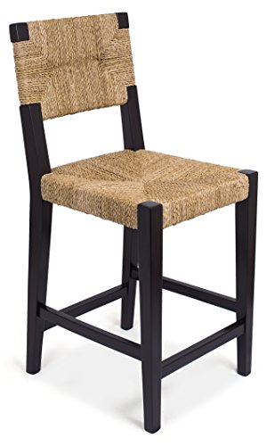 (BIRDROCK HOME Rush Weave Counter Stool with Back)