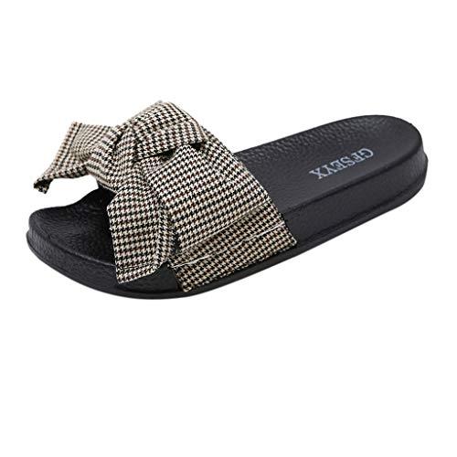 MILIMIEYIK Sandals for Women, Slide Sandals for Women/Cork Sole/Canvas Knot Bow/Womens Slides/Sandals for Women(9, Black)