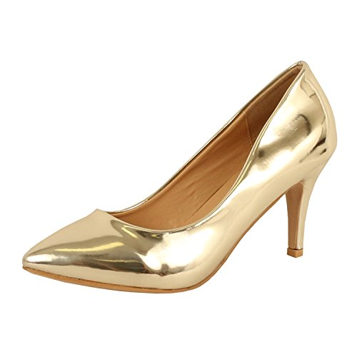 Womens Dress Shoes Classic Pump (Guilty Shoes Womens - Embellished Classic Elegant - Closed Pointy Toe Low Kitten Heel - Dress Heeled Sandal Pump (8.5 M, 16-Gold1-Patent))