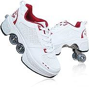 Roller Shoes USB Charging Roller Skate Shoes Girls Boys Led Light Up Multifunctional Deformation Roller Shoes