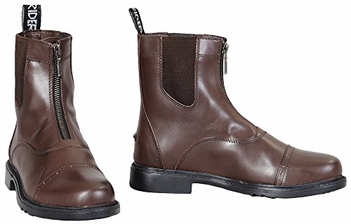 Barn Zip Boot - TuffRider Men's Barouque Front Zip Paddock Boots with Metal Zipper, Mocha, 11
