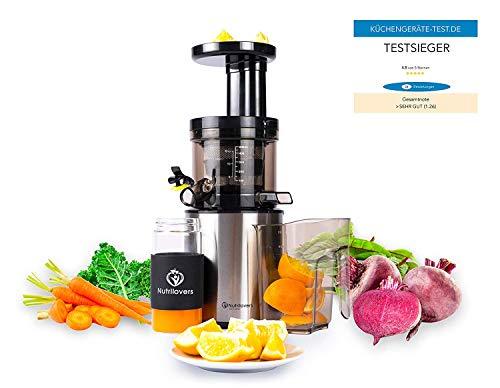 Exprimidor Nutrilovers Slow Juicer eléctrico para frutas y verduras, solo 45 rpm, sin BPA, con libro de recetas (idioma español no garantizado), ...
