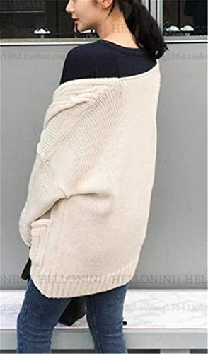 Beige Beige Giaccone Casual Lunghe Lunghe Lunghe Autunno con Cardigan Maglieria Outwear Outerwear Moda Accogliente Monocromo Tasche Maglie Maglioni Donna Pullover Casual Maniche Chic Eleganti Baggy Vaniesay x0BqU6wAA