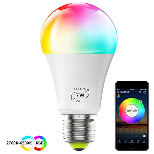 HaoDeng Smart LED WiFi Light Bulb,e27 a19 Edison Bulb-Timer & Sunrise & Sunset- Dimmable, Multicolor, Warm White - No Hub Required, Compatible with Alexa, Google Home Assistant and IFTTT