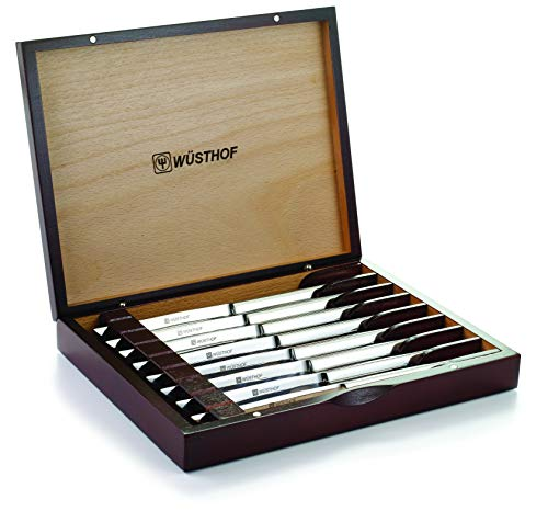 (Wusthof 8-Piece Stainless-Steel Steak Knife Set with Wooden Gift Box )